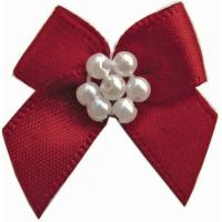 Buy cheap 5cm custom satin Mini ribbon bows With Pearls high color fastness product