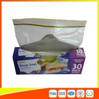 Buy cheap Supermarket Reuseable Plastic Clear Sandwich Bags Zipper Top 22 * 25cm product