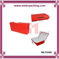 Buy cheap High Quality custom made Art paper red folding gift box with ribbon handle product