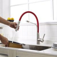 Quality Sanitary Ware UPC Single Handle Stainless steel Sink Taps Mixer Red Rubber Pull for sale