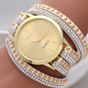 Buy cheap Korea Rope Braided Leather Geneva Flower Watch Gold Face , Geneva Wrap Watch product