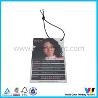 China C2S Matt Surface Printable Paper Tags with black elastic cord for hair extensions packaging on sale