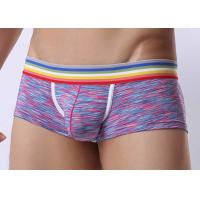 Low Waist Mens Underwear Boxer Briefs With Support Pouch , Rainbow Waistband