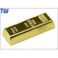 China Shinning Golden Brick 16GB USB Stick Slip Button Laser Logo Engraved on sale