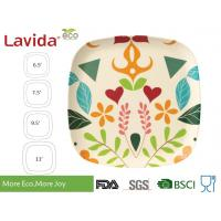 Customized pattern Big size  Eco-friendly square Bamboo Fibre Dinner serving Plate 11 inch 28cm