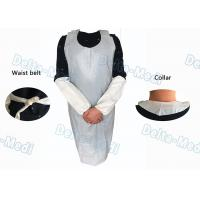 China Operating Rooms White Disposable Aprons , Dust Proof Plastic Throw Away Aprons on sale
