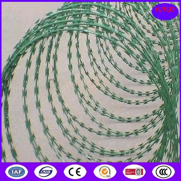 Quality Concertina Barbed Tapes ,Epoxy -white color Razor wire for sale
