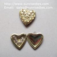 Buy cheap Mesh brass heart shaped photo locket for diy jewelry, copper heart locket product