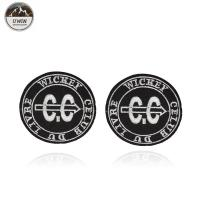 Buy cheap Round Letter Embroidery Designs Patches Badge Black / White With Merrow Border product