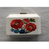 Buy cheap National Style White Embroidered Bag Fabric Material With Break Open Closure product