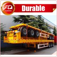 Buy cheap Hot Sale Tri-axle 20ft 40ft flatbed trailer , 40 ton flatbed semi trailer , flatbed trailer with container locks product