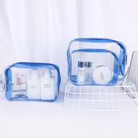 Buy cheap Personalized PVC Cosmetic Bag , Blue Clear Plastic Cosmetic Zipper Bags product