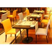 Buy cheap Wood Restaurant Furniture Set Modern Dining Room Tables Black Metal Legs product