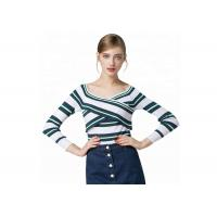Buy cheap Sexy Lady Cozy Knit Sweater Long Sleeve V Collar Pullover With Striped Pattern product