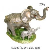 Buy cheap Elephant Trinket Box Mom & Baby Bejeweled Figurine product