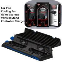 China Multifuction Vertical Stand for PS4 Cooling Fan Charging Station Game Storage USB Port and Dual Controller Charger on sale