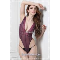 Buy cheap Sexy purple with floral lace front teddy underwear product