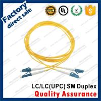 Buy cheap lc-lc/upc SM optic fiber patch cords for structure cabling BLUE connectors Duplex yellow pvc sheath jacket product