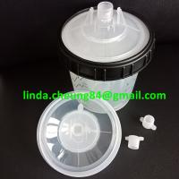 Buy cheap transparent PP spray gun paint mixing cup soft PE material 28oz cup linners/lid from wholesalers