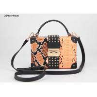China New style snake pattern PU leather hard case clutch purse with shoulder strap on sale