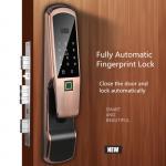 Buy cheap Aluminum Alloy Fingerprint Door Lock , Electric Glass Doors With LCD Screen product