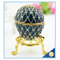 Handmade Enamel metal decorative egg boxes with diamond