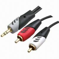 Buy cheap Stereo RCA Cable, 3.5mm Stereo Male to 2RCA Male Double Color Mold from wholesalers