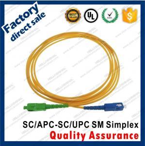 Buy cheap sc/upc-sc/apc optic fiber patch cords green connectors simplex yellow pvc lszh sheath jacket product