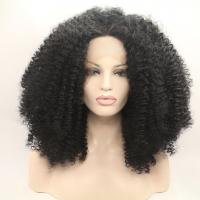 Buy cheap Black Heavy Hair Density Long  Afro Curl Synthetic Hair Lace Front Wigs product
