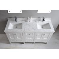 Nature White Marble Bathroom Countertops , Marble Island Countertop With Oval Sink