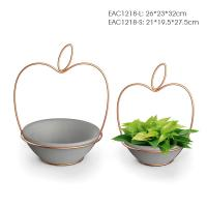 Buy cheap Gold Wire Apple Shape Concrete Vase Christmas Decor Flower Planter Pot product