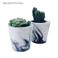 Buy cheap Tall Cylinder Concrete Plant Pots Custom Logo Marble Effect OEM / ODM from wholesalers