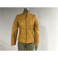 Mandarin Collar  Pu Leather Coat , Mustard Upstyled Pleather Biker Jacket Tw74180