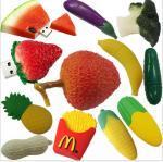 customized Fruit and food design USB Flashdrives,2-32GB Soft PVC fruit shaped