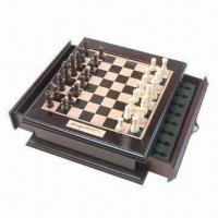 Buy cheap Wooden chess, measures 25 x 22 x 7cm product
