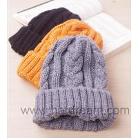 Buy cheap all custom one tone plain fold up knitted braid pattern beanie product