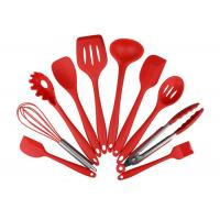 China Eco Friendly 10 Piece Silicone Utensil Set / Heat Resistant Silicone Cooking Utensils on sale