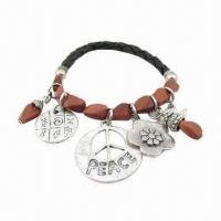 Buy cheap Leather bracelet with natural stone and metal alloy pendant product