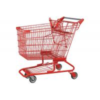 China 4 Wheel Chrome Plated Supermarket Shopping Trolley Red 80-160kgs on sale