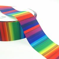 Buy cheap Custom cheap 3 inch 75mm Grosgrain rainbow ombre base colors ribbon product