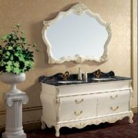 Buy cheap Hand Carved Double Basin Bathroom Vanities with Mirrored Cabinet (SE1601) product