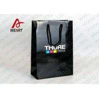 CMYK Logo Black Custom Paper Shopping Bags With Handle Glossy Lamination