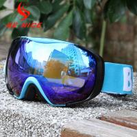 UV Protect Blue Mirrored Ski Goggles Three Layer Foam With Blue TPU Frame
