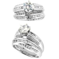 China Competitive price gold diamond unique crystal wedding ring sets with rotation patterns on sale
