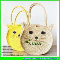 China LDMC-027 fashion cute cat  straw purse natural  wheat straw shoulder handbag bag on sale