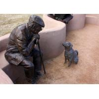 Buy cheap Old Man And Dog Bronze Statue For Home Garden Public Decoration product