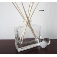 Buy cheap Flat Square 100ml Reed Diffuser oil Bottle with Wood Collar TS-DB07 product