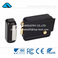China Hot Selling Electronic Euro Lock Electric Rim Door Lock Black Color Solid Brass Cylinder and Latch on sale
