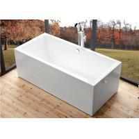 Buy cheap Deep Soaking Rectangle Acrylic Free Standing Bathtub With Overflow Space Saving product