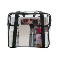 China Ladies Clear PVC Handbags Waterproof Transparent With Customized Sewing Printing on sale